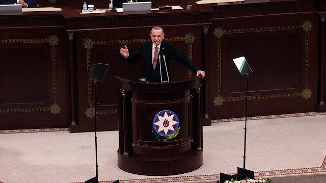 Cumhurbaşkanı Erdoğan Azerbaycan Meclisi'nde hitap etti: Bütün dünya bilsin Azerbaycan'ın yanındayız
