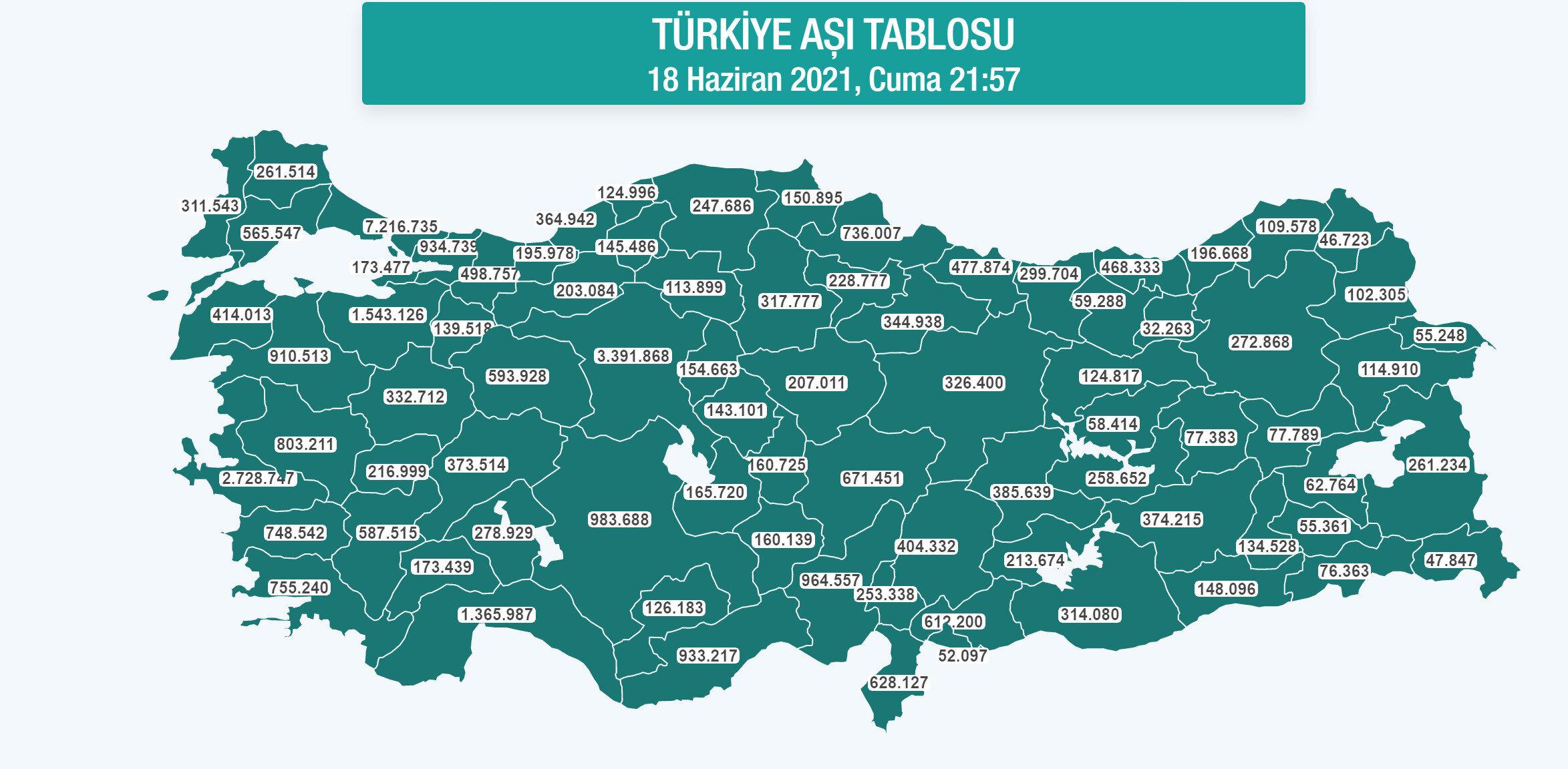 Türkiye'nin il il aşı haritası.