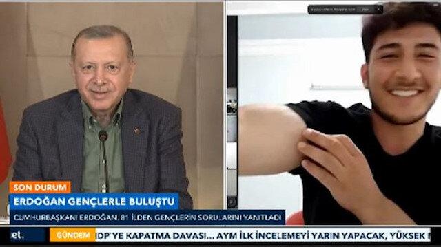 Cumhurbaşkanı Erdoğanla milli sporcu arasında güldüren diyalog: Pazuların nasıl bir görelim bakalım