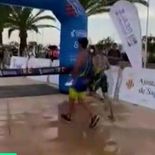 İspanyada atlet kazandığını sandığı yarışı son anda kaybetti
