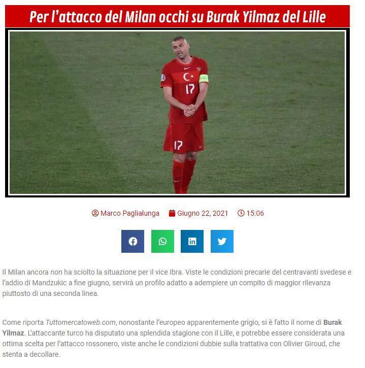 İtalyan basınında yer alan Burak Yılmaz haberlerinden biri