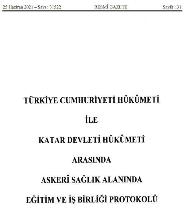 Türkiye ile Katar arasında imzalanan askeri protokol.