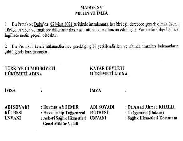 Protokolde Hava Tabip Tuğgeneral Askeri Sağlık Hizmetleri Genel Müdür Vekili Durmuş Aydemir'in imzası yer alıyor.