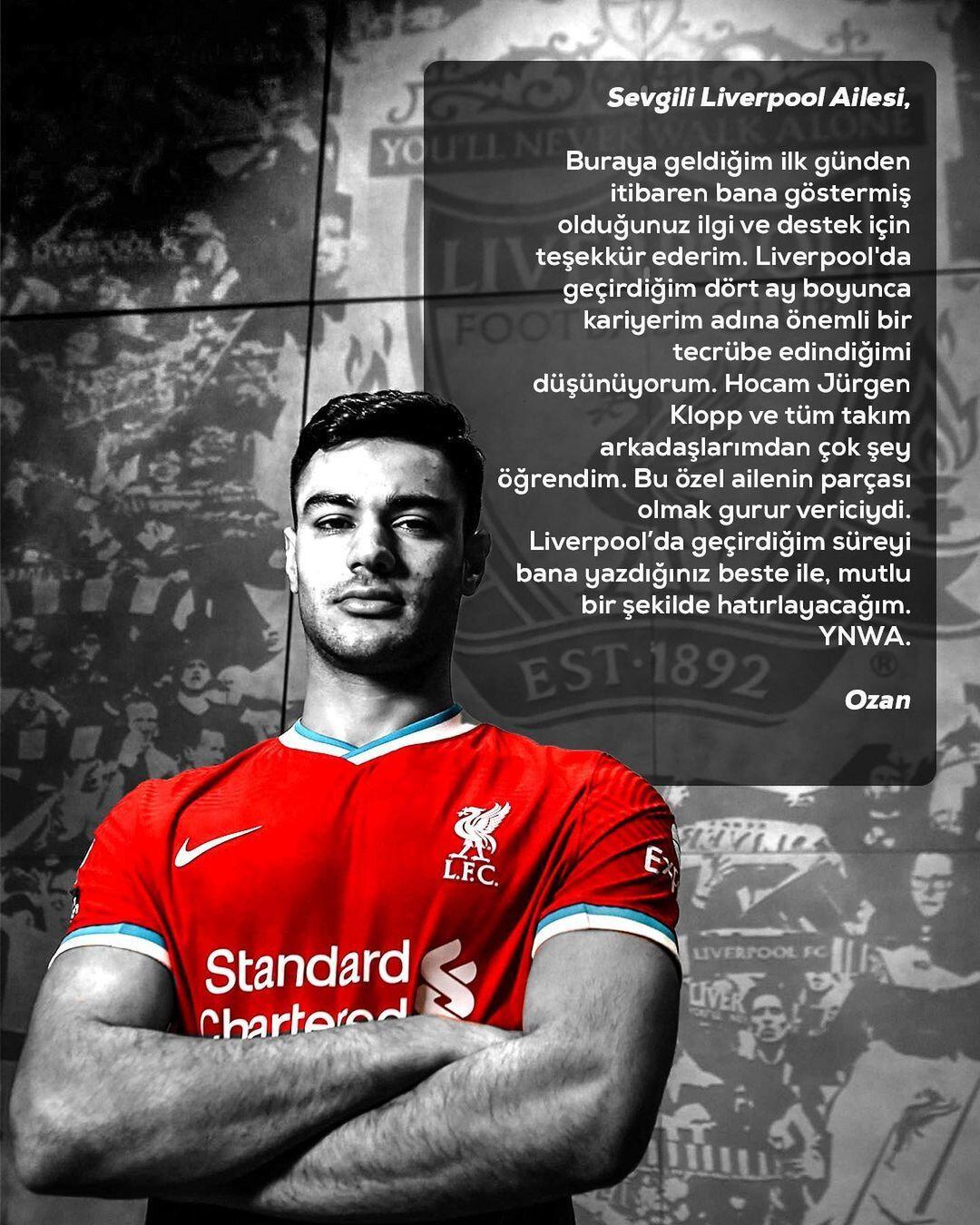 Ozan Kabak, Liverpool'a veda etti.