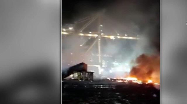 Dubai'deki Cebel Ali Limanı'nda patlama sonucu çıkan yangın kontrol altına alındı