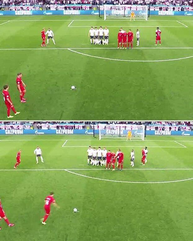 Danimarkalı futbolcular İngiltere barajını dağıtıp kaleci Pickford'u şaşırtmaya çalıştı.