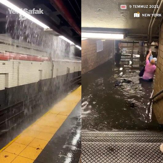 New York metrosu sağanak yağışla sular altında kaldı