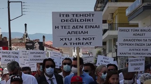 Türk azınlık'tan Yunan Yüksek Mahkemesinin İskeçe Türk Birliğinin resmi statüsüne yönelik kararına protesto