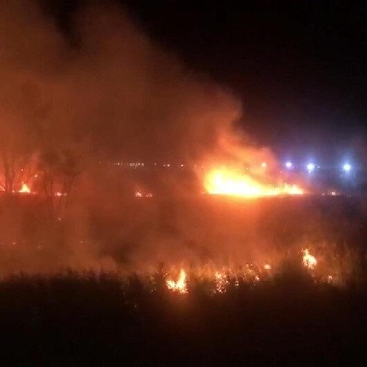 Düğün salonu yakınındaki sazlıkta yangın: Eğlence yangına rağmen devam etti