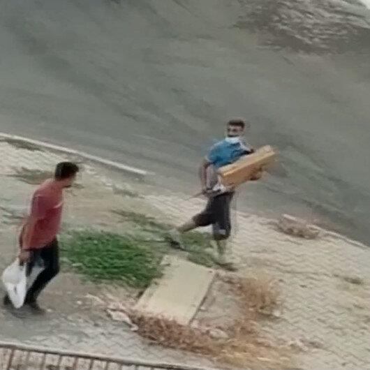 İnşaattan hiltiyi çalıp ticari taksiyle kaçan hırsızlar kamerada