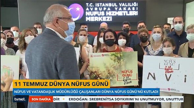 İstanbul Nüfus ve Vatandaşlık Müdürlüğü çalışanları 11 Temmuz Dünya Nüfus Gününü kutladı
