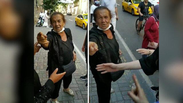 Beşiktaş'ta yaşlı kadın başörtülülere hakaretler yağdırdı