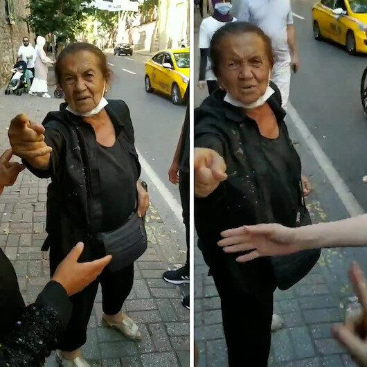 Beşiktaşta yaşlı kadın başörtülülere hakaretler yağdırdı