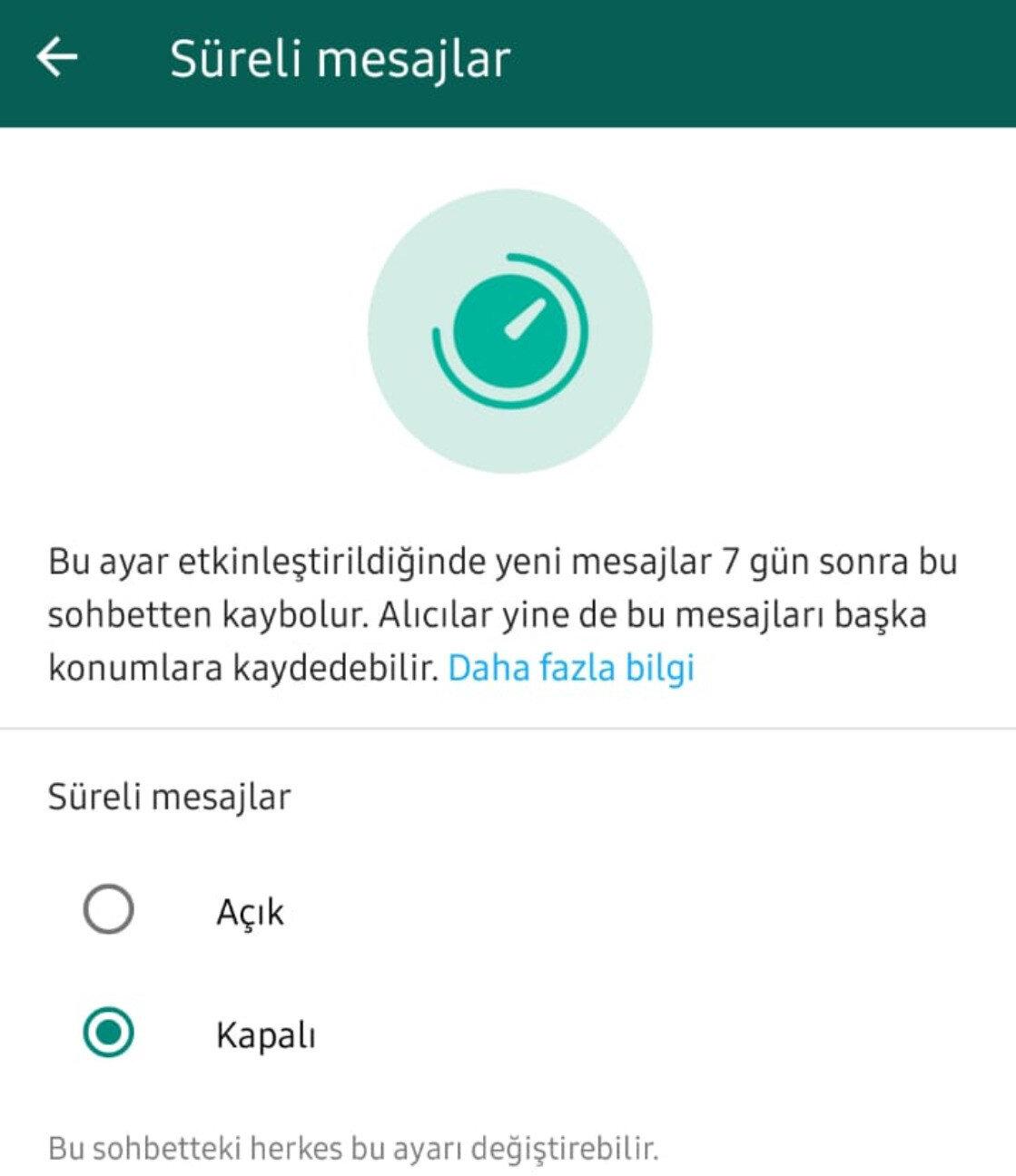WhatsApp'ın Kaybolan Mesajlar özelliğinde mesajların iletildiği WhatsApp hesabına 7 gün giriş yapılmazsa içerikler otomatik olarak siliniyor.