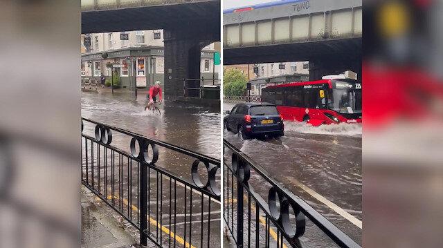 Londra'da göle dönen yolda mahsur kalan adam: Yüzebileceğimi sanmıyorum