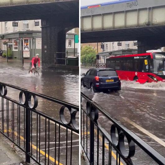 Londrada göle dönen yolda mahsur kalan adam: Yüzebileceğimi sanmıyorum