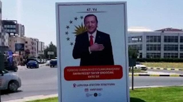 KKTC Cumhurbaşkanı Erdoğan'ı bekliyor: Caddeler Erdoğan posterleriyle donatıldı