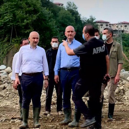 Bakan Soylu ve Bakan Karaismailoğlu Rizede afet bölgesinde incelemelerde bulundu