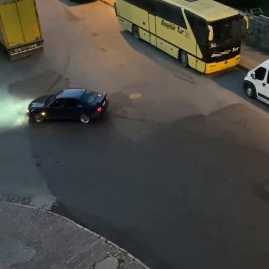 Arnavutköy'de drift yapan maganda kamerada