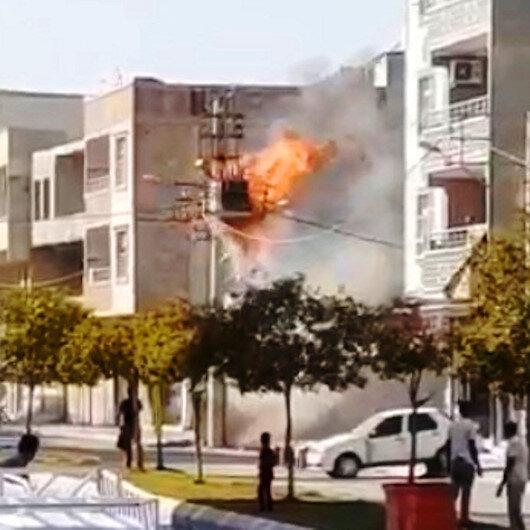 Şanlıurfada patlayan elektrik trafosu korku saçtı