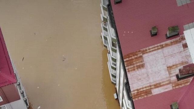 Artvin'de sel felaketinin yaşandığı bölge havadan görüntülendi