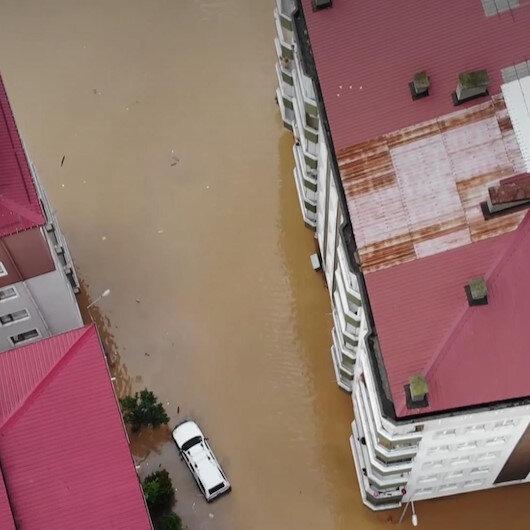 Artvinde sel felaketinin yaşandığı bölge havadan görüntülendi