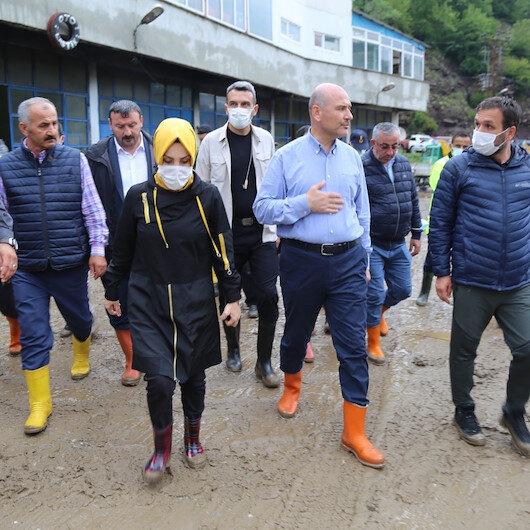 İçişleri Bakanı Süleyman Soylu afet bölgesinde