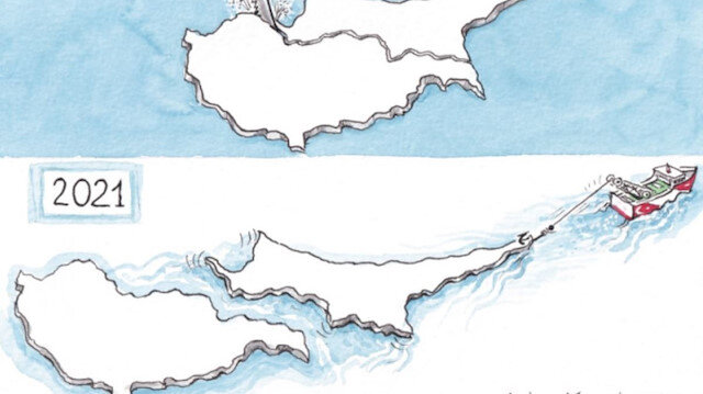 Yunan basınından Kıbrıs adası karikatürü: KKTC'nin Türkiye tarafından kopartılıyor