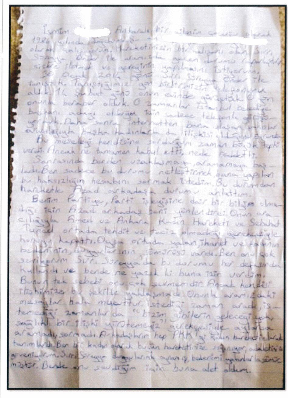"""TEM ekiplerince ifadesi alınan M.Ç., mektubu 2014'te Azad kod adlı Mesut A. ile birlikte yazdıklarını kabul ederek, """"Azad, 'Sırrı Süreyya Önder PKK ile ilişkilidir. PKK'ya şikayet edelim, bunu da mektup yazarak önderliğe bildirelim' dedi ve mektubu yazdı"""" ifadesini kullandı."""