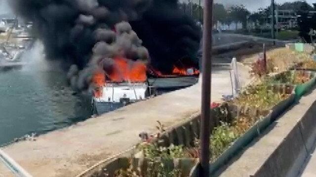 Maltepe'de 5 tekne alev alev yandı