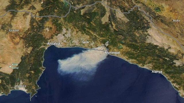 Manavgat'taki yangının uydu fotoğrafı acı tabloyu gözler önüne serdi
