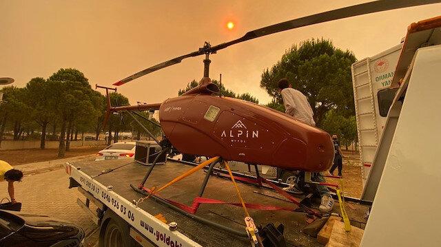 Manavgat'taki yangına müdahalede insansız helikopter de kullanılıyor