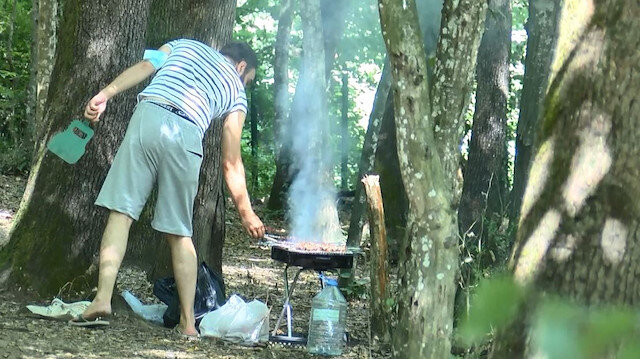 Belgrad Ormanı'nda yasağa rağmen mangal yaktılar
