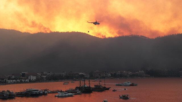 Marmaris'in ciğerleri yanıyor: Yangın gece boyunca ilerleyişini sürdürdü
