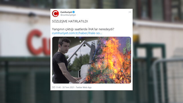 Yangınlara İHA'larla mücadeleyi görmezden gelen Cumhuriyet Gazetesi 'İHA'lar nerede?' deyip Selçuk Bayraktar'ı hedef aldı