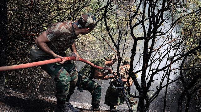 Azerbaycan'dan Marmaris'e gelen yardım ekibi söndürme çalışmalarına başladı