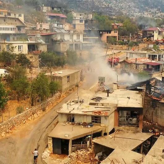 Orman işçilerinin şehit olduğu Gebece Mahallesindeki tahribat havadan görüntülendi