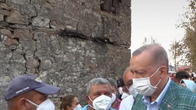 Cumhurbaşkanı Erdoğan'dan afet bölgesindeki vatandaşlara ziyaret