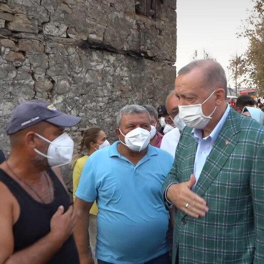 Cumhurbaşkanı Erdoğandan afet bölgesindeki vatandaşlara ziyaret