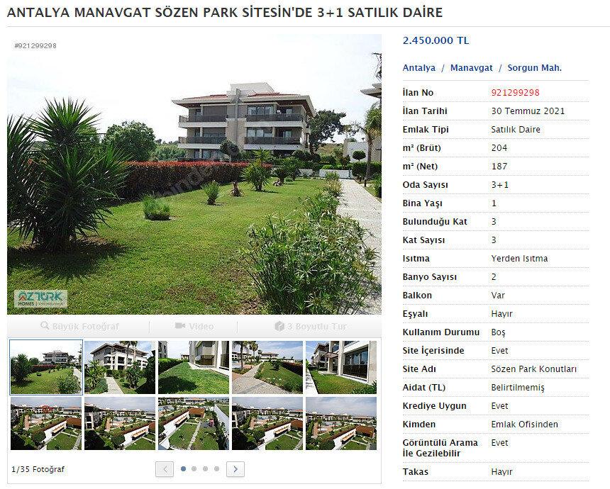 CHP'li Manavgat Belediye Başkanı Şükrü Sözen'in lüks sitede yer alan satılık daireleri.
