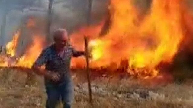 Menteşe'de orman yangınını söndürmek için köylüler seferber oldu