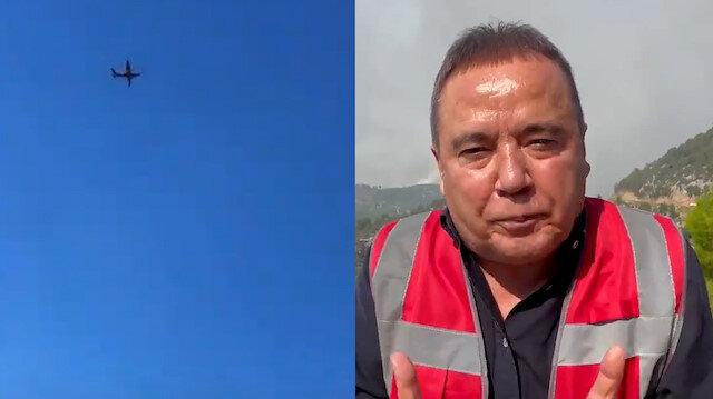 Antalya Belediye Başkanı Muhittin Böcek uçak ve helikopterlerin söndürme çalışmaları sürerken 'insanlar yanıyor uçak gönderin' videosu çekti