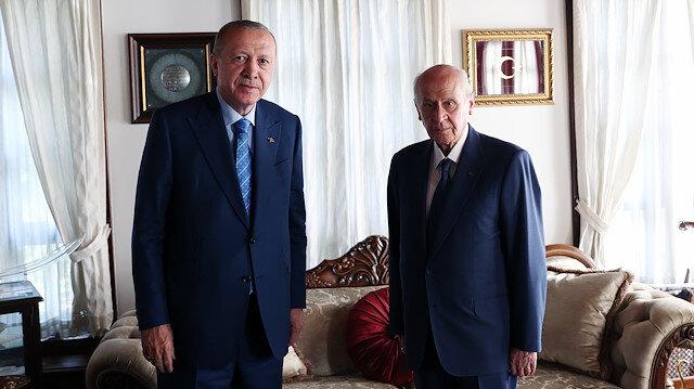 Cumhurbaşkanı Erdoğan'dan MHP Genel Başkanı Bahçeli'ye ziyaret