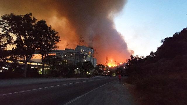 Milas'taki yangın termik santrale sıçradı