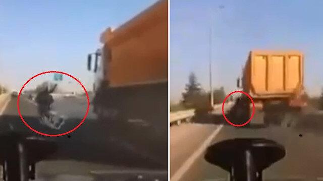 Ankara'da trafikte tartıştığı motosiklet sürücüsünü sıkıştıran kamyon şoförü tutuklandı