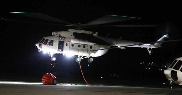 Helikopterler gece karanlığında da alevlerle mücadele etti - Yeni Şafak