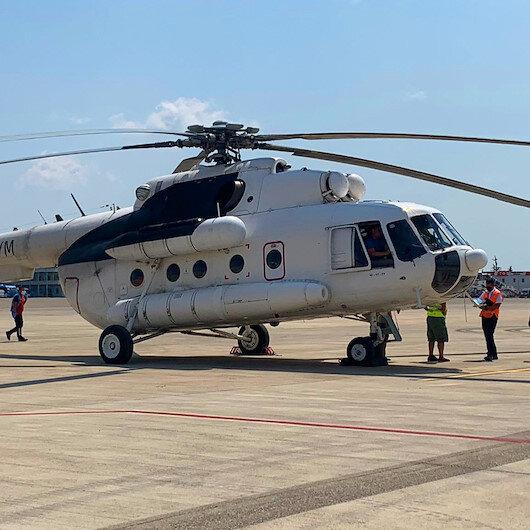 THYnin kiraladığı iki yangın söndürme helikopteri mücadeleye hazır
