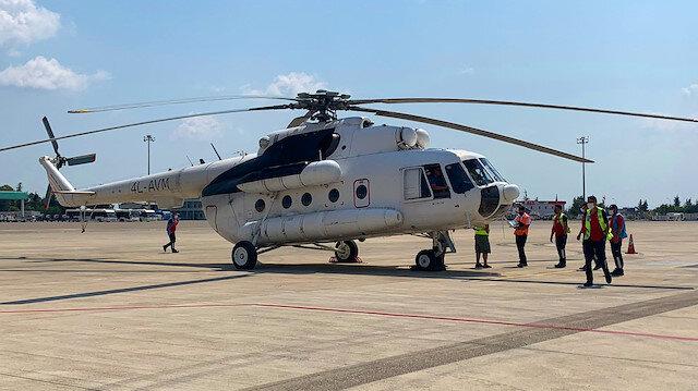 THY'nin kiraladığı iki yangın söndürme helikopteri mücadeleye hazır