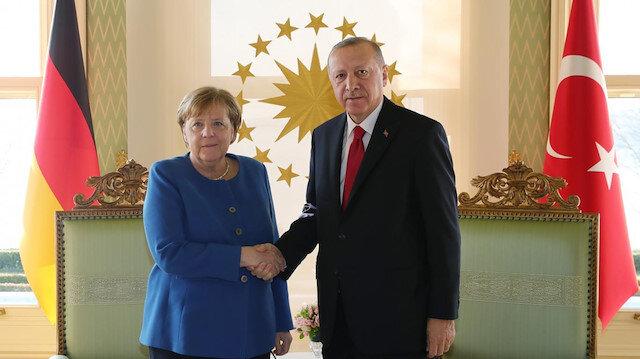 Cumhurbaşkanı Erdoğan Almanya Başbakanı Angela Merkel ile görüştü