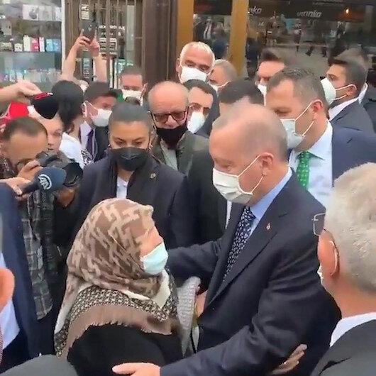 Boşnak teyzeden Cumhurbaşkanı Erdoğana sıcak karşılama